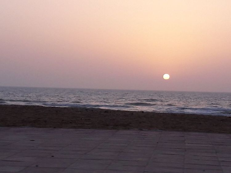Sunset Sunset Silhouettes Laayoune Moroccan Sahara Laayounemorocco Beach