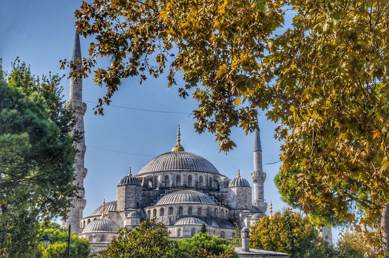View of blue mosque against the sky