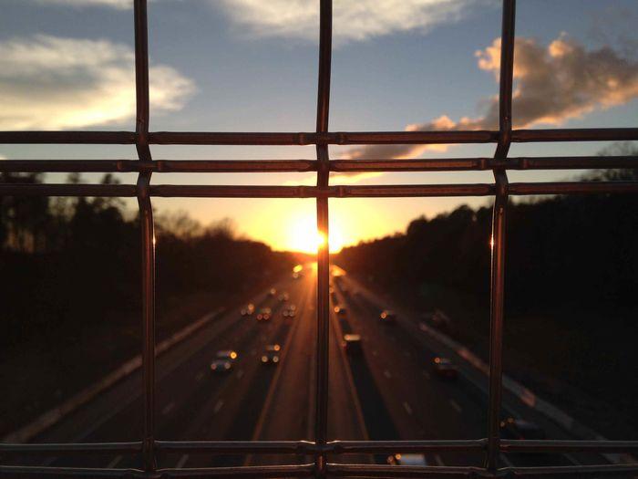 Road seen through window