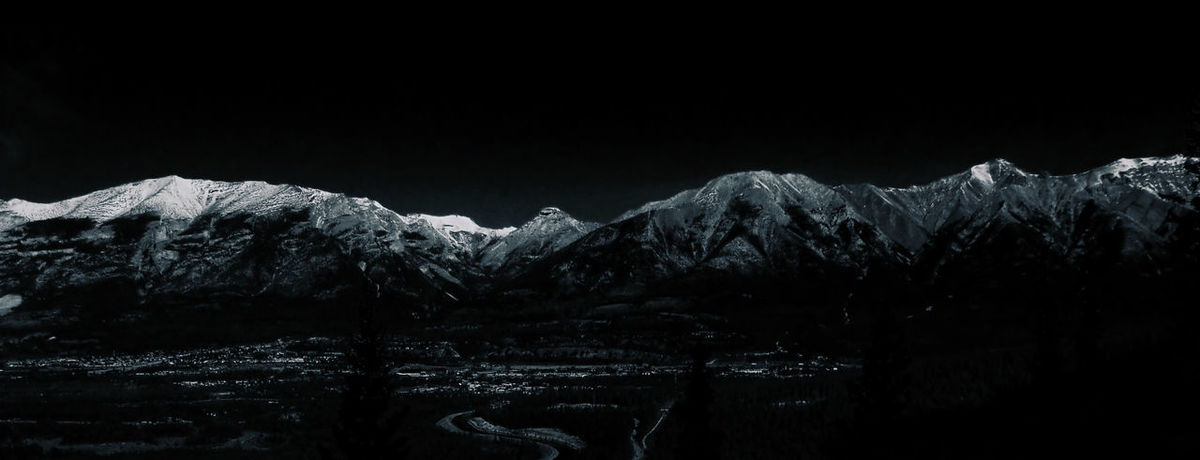Black And White Black Background Bow Valley Day Landscape Mountain Addict Mountains Nature Obvious Edit Outdoors Sky Snow Snowcapped Mountain