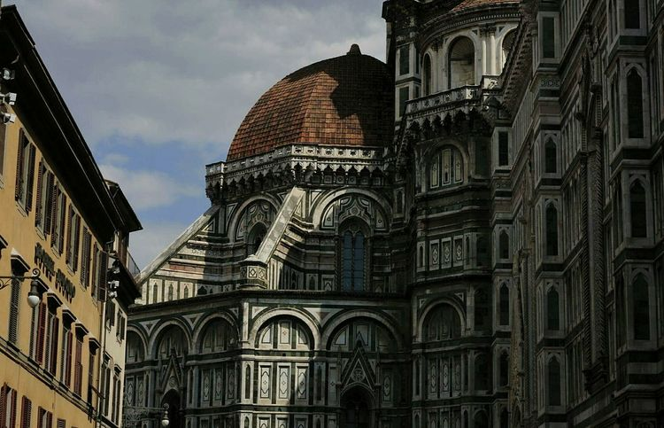 Architecture Church Spirituality Cathedral Low Angle View Travel Destinations Arch City Duomo Santa Maria Del Fiore Famous Place Florence Italy Marble Colours