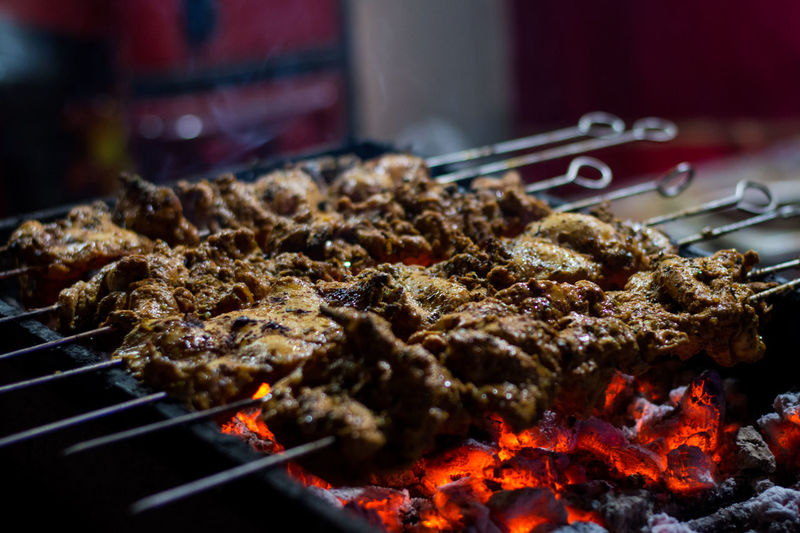 Chicken Kebabs on grill Barbecue Barbeque Charcoal Chicken Chicken Kebab Close-up Food Grill Indoors  Kebab Night No People Pune Smoke