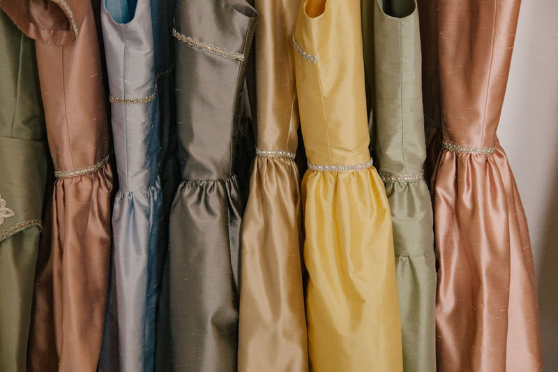 Close-up of dresses for sale in store