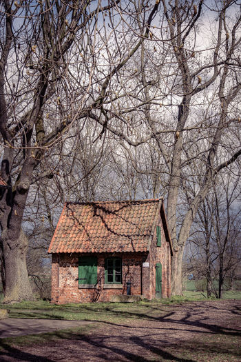 House amidst bare trees and buildings against sky