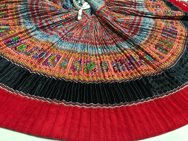 Hmong Skirt Pattern No People Red Low Angle View Close-up Indoors  Textile Full Frame Arts Culture And Entertainment Multi Colored Art And Craft Architecture Built Structure Textured  Backgrounds Design Illuminated