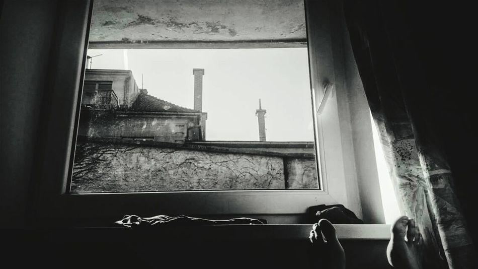 Window View Fotografia Foots Stopy Widok Z Okna Czarno-białe Dom