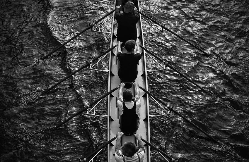 Men At Work  Cooperation Symetry Better Together Rowingboat Black & White Monochrome What Makes You Strong? What I Value