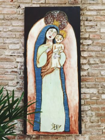 Human Representation Female Likeness Art And Craft Spirituality Brick Wall Painting Painted Image Holy Mary Baby Baby Jesus Infant Jesus Virgin Mary Holy Virgin Mary No People Indoors  Day Built Structure Architecture Paço Alfândega Recife, Brazil Brazil Religion Brazilian Art