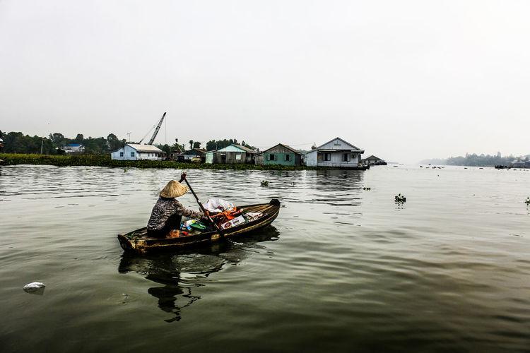 Boat Floating Market Mekong Delta Mekong Delta River MekongDelta One Person Vietnam Vietnam Delta Vietnam Trip Water