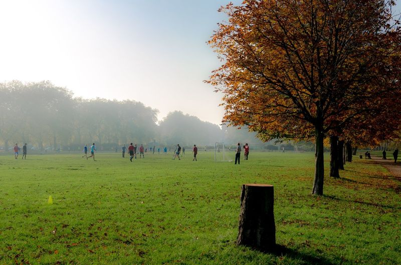 People On Field In Park Against Sky During Autumn