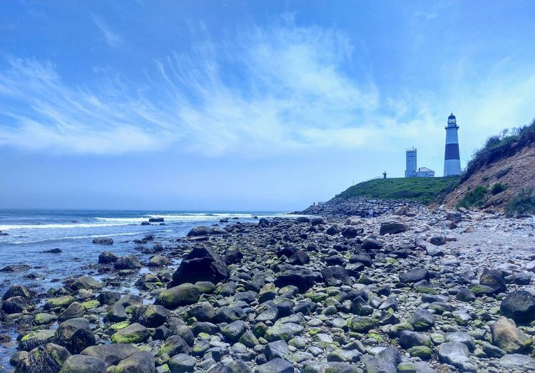 Montauk Longisland Beach Ocean View Ocean Beautiful Lighthouse Rocks Landscape Sky Clouds