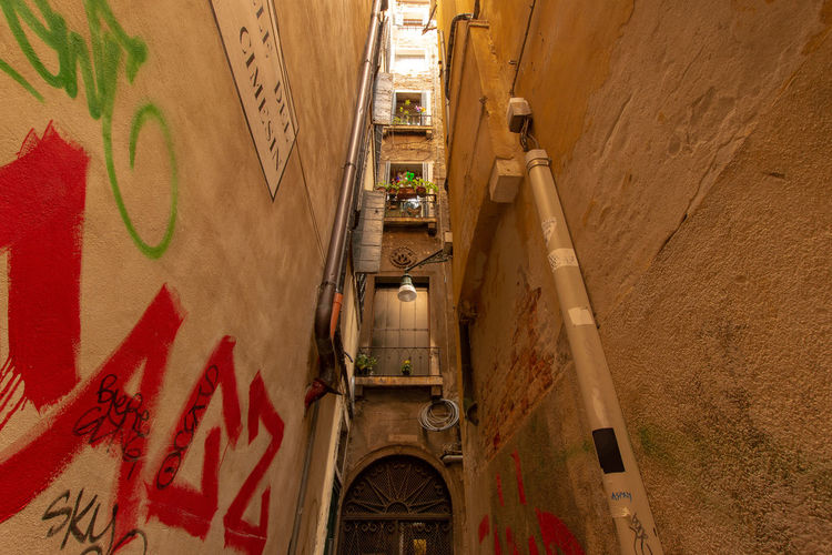 A small alley in Venice ... Architecture Lonely Narrow Path Rustic Travel Alley Alleyway Backgrounds Building Corridor Day Destination Empty Europe House Italy Location Medieval Mystery Stone Town Urban Venice Way