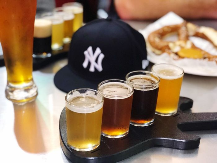 Yup 😁😊 Game Time! Baseball Cap Baseball Hanging Out Drinking Sampling Some Beer City Life New York Yankees Timeoff Relaxing Beers Beer Time Food And Drink Drink Still Life Close-up Freshness