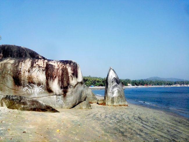 Horizon Over Water Beauty In Nature Nature Beach Sand Sea Water Day Outdoors Blue Sky No People Goa India. Love Palolem Beach Palolem Palolembeach shark Shark Stone Rocks