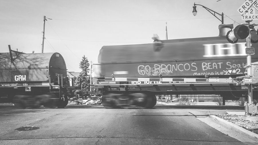 Black And White Black & White Go Broncos! Graffiti Photography In Motion Railroad Crossing Railroad Crossing Sign Railroad Tracks Train USA Sports Sports Lover