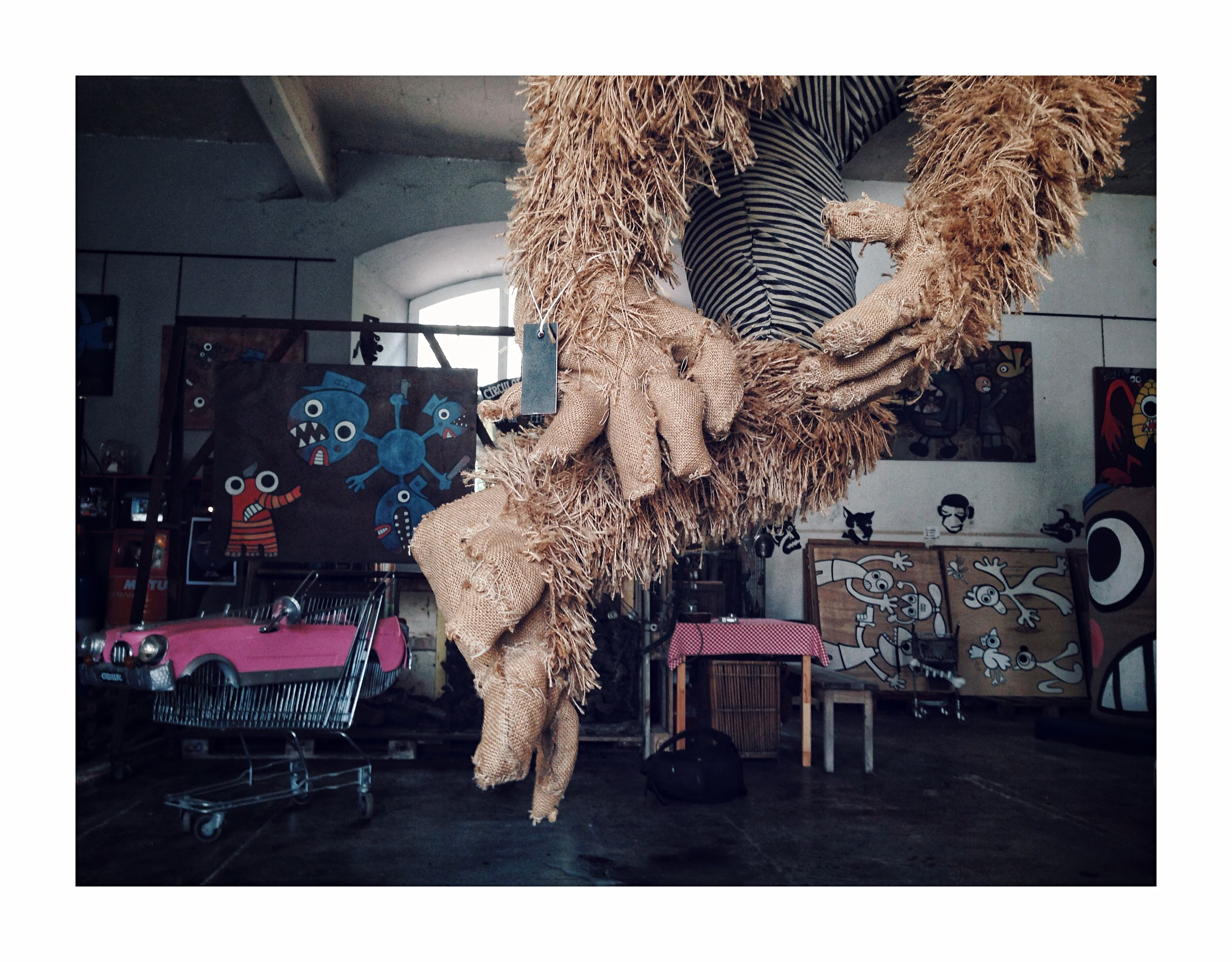transfer print, indoors, auto post production filter, no people, toy, stuffed toy, animal representation, representation, teddy bear, table, day, domestic room, seat, furniture, chair, architecture, hanging, home, mammal