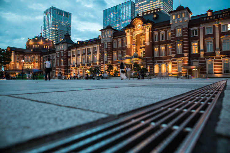Tokyo station plaza view during twilight. landscape orientation.