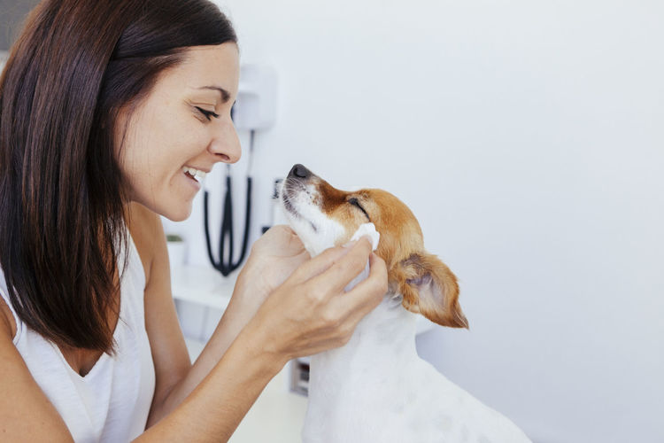 Side view of smiling veterinarian holding dog in hospital