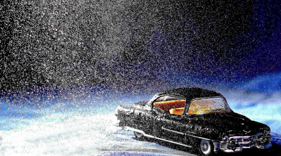 Toy car in rain