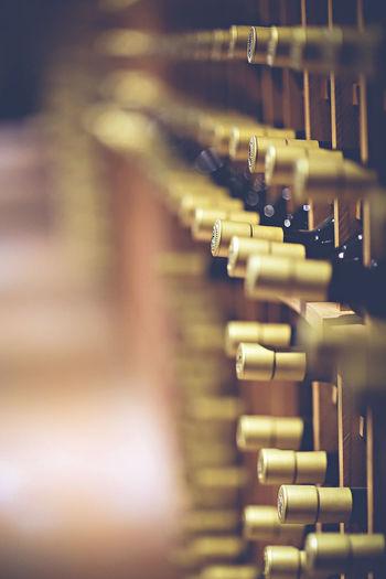 Wine bottles arranged in shelves