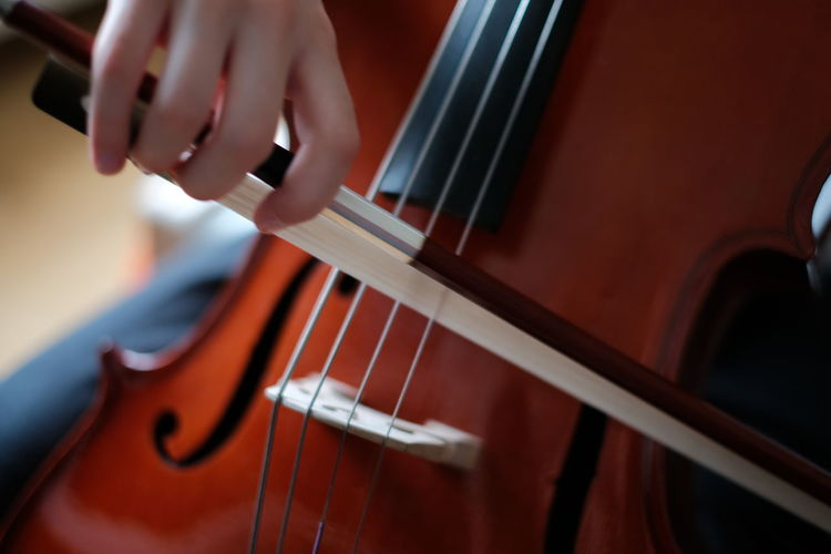 Cropped image of person playing cello
