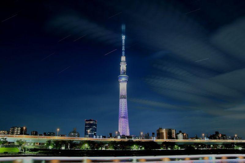 Night Tower Cityscape Illuminated Stars And Stripes Nightshot Nightview Nightphotography Long Exposure Astronomy Startrails Tokyo Landscape Nightscape Japan Tokyo Sky Tree Skytree Sumidariver