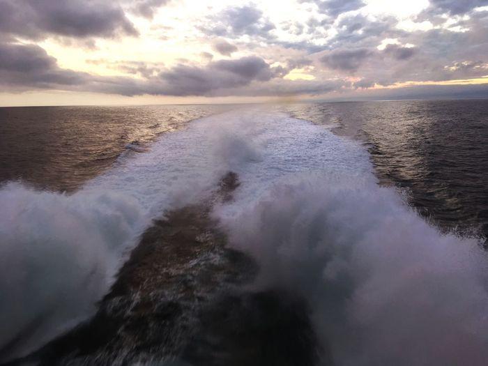 Water Sea Sky Beauty In Nature Cloud - Sky Scenics - Nature Motion Wave Nature Horizon Over Water Horizon