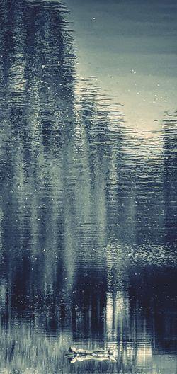 High angle view of raindrops on lake
