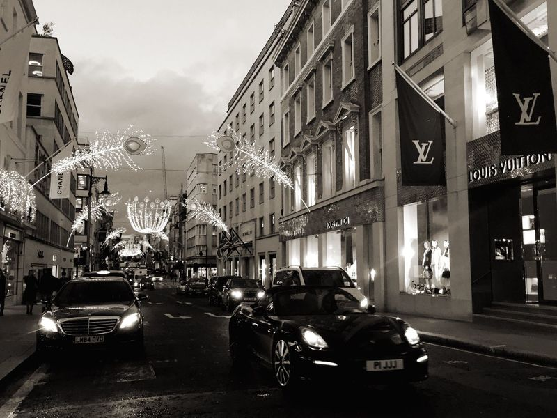 Transportation Land Vehicle Building Exterior City Mode Of Transport Street Car Architecture Built Structure Mayfair, London old Bond Street Illuminated Sky No People Day