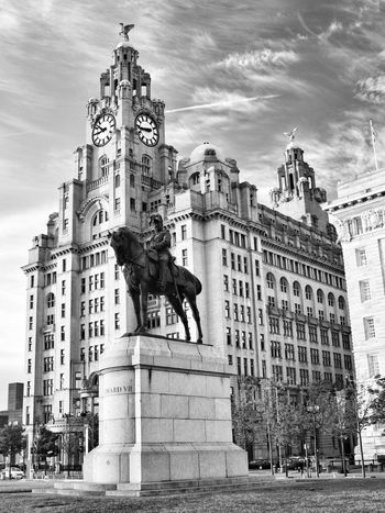 Statue Sculpture Architecture Building Exterior Art And Craft Built Structure Human Representation Horse Sky Low Angle View Travel Destinations History Monument Outdoors Travel Cloud - Sky City Day No People Liverpool JoMo Photo Nikon D750 Black And White Blackandwhite