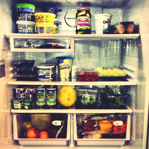 Fridge all stocked and organized for another week of #cleaneating