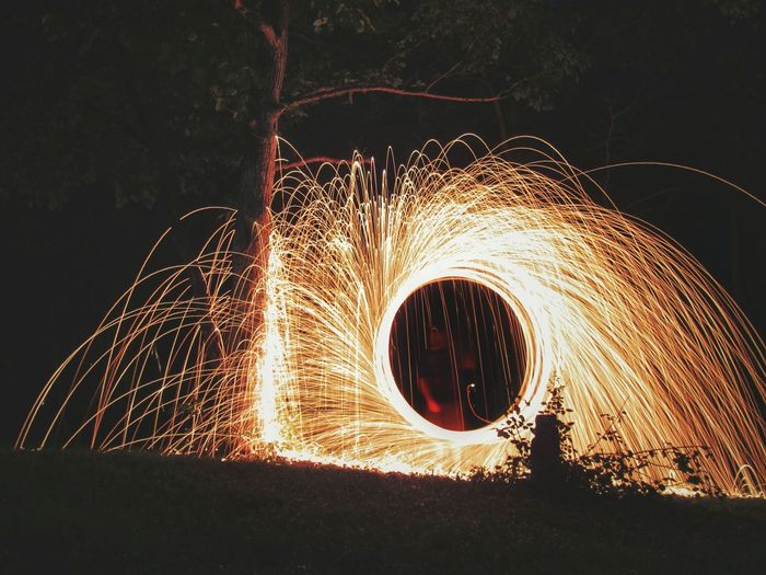Blurred motion of wire wool at night