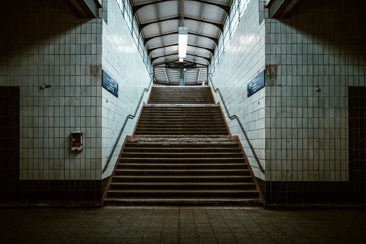 Stairway access to the platform Berlin Photography Berliner Ansichten Day Illuminated Indoors  Light And Shadow No People Nostalgia Nostalgic  Old Old-fashioned Platform Public Places Public Transport Public Transportation Rail Transportation Railway Station Shadows & Lights Stairs Stairway Stairways Station Tile Tiled Wall Train Station