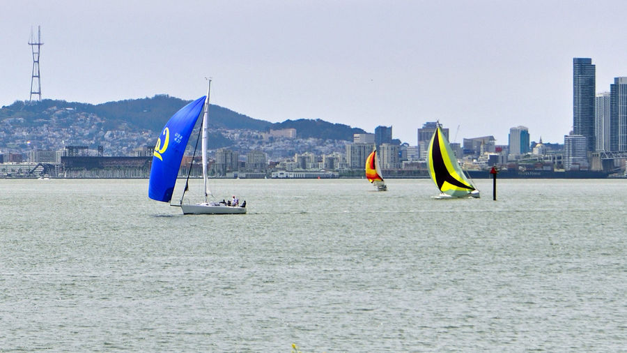 Sailboats At Middle Harbor 1 Sailing Sailboats Port Of Oakland, Ca. The Color Of Sport Sports San Francisco Bay Sutro Tower AT&T Ball Park Hills Of San Francisco Skyline Colorful Sails Sailboats Racing Tacking Teamwork Scenics Watersports Channel Marker Calm Waters Waterfront Lower Western Span Of Bay Bridge