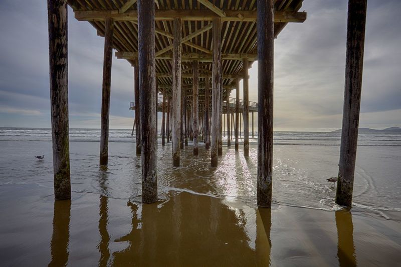 Architecture Beach Built Structure HDR Horizon Over Water No People Pier Reflection Sea Sky Tranquil Scene Water Wood - Material Wooden Post