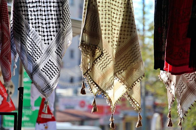 Scarves hanging for sale at market
