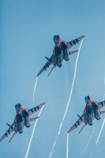 Aerobatics Airshow Clear Sky Danger Day Fighter Plane Flying Freedom Low Angle View Mid-air MIG 29 No People Outdoors Russian Knight Sky Speed Stunt Su-27