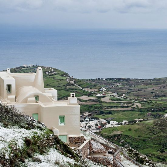 How's The Weather Today? Santorini Greece Snow Cyclades Snowlandscape Architecture