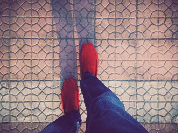 Casual Red Shoes Vscocam Blue Jeans
