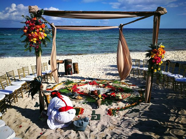 Hanging Sea No People Outdoors Day Beach Horizon Over Water Water Sky Nature Shaman Chaman Riviera Maya Rivieramaya Beach Ceremony Beach Wedding Bluevenado Gazebo And Nature Gazebo Gazebo At The Beach Multi Colored Flower Arrangement Flower Collection Beach Wedding Wedding Day Sommergefühle Let's Go. Together. Done That.