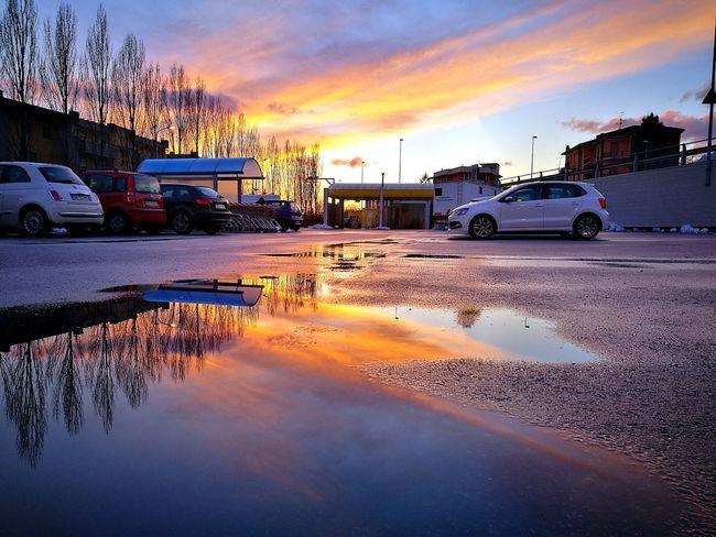 Semplicemente la luce... Car Cloud - Sky Wet Reflection Sunset No People Transportation Water Sky Road Outdoors