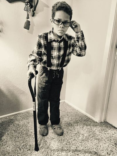 Lifestyles Front View One Person Real People Standing Casual Clothing Leisure Activity Sunlight Full Length Indoors  Technology Day Young Adult Uniqueness Kindergarten Kaden styling it for 100s Day in Kindergarten. Pretending