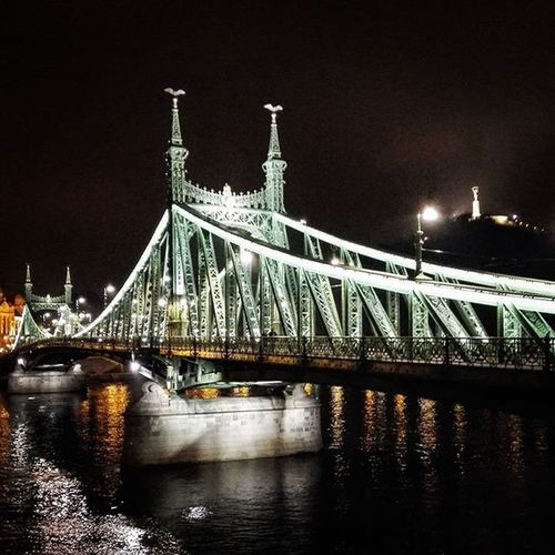 Attraverssiamo Hungary Budapest Bridge Night Lights Water River Danube Indtatravel Travel Happy