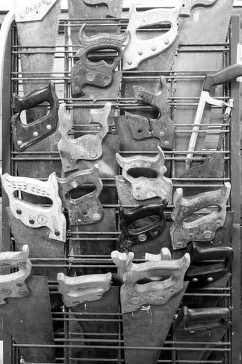 Blackandwhite Close-up Display Hand Tool Indoors  Machinery No People Saws Tools
