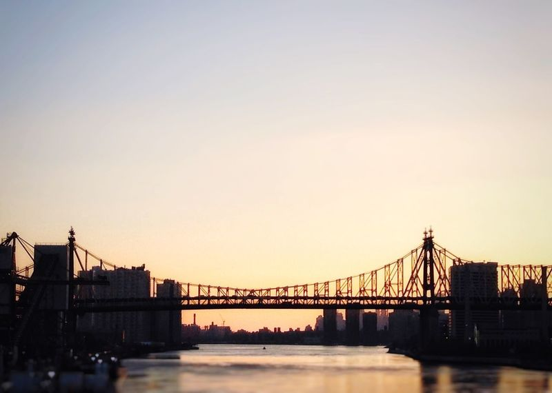 Bridge - Man Made Structure Built Structure Connection Architecture Transportation Engineering Water Suspension Bridge City Sky River No People Building Exterior Outdoors Sunset New York New York City Adapted To The City Hudson River Urban Skyline