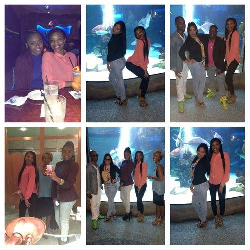At the aquarium for Lanequa birthday dinner .