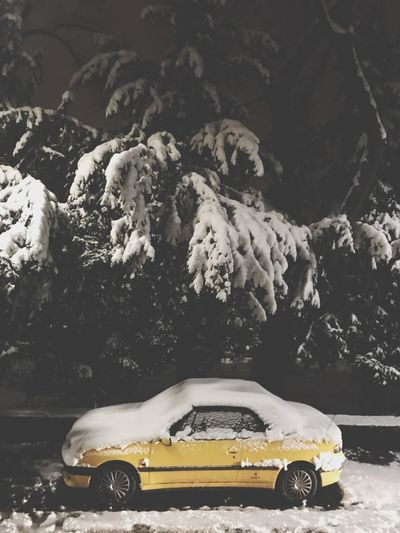 Yellowcar Yellow Car Transportation Land Vehicle Weather Mode Of Transport Snow Yellow Cold Temperature No People