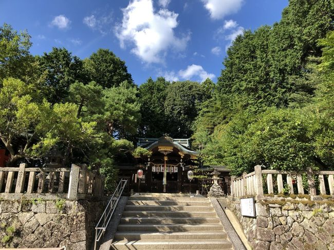 Japanese Traditional Shrine Of Japan Stairway Green Color Kyoto Religion Shrine Summer Sky And Clouds