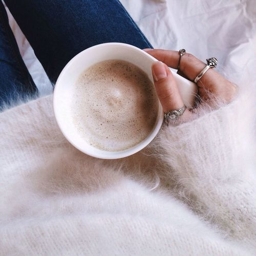 Details Details Of My Life Close-up Hand Coffee Coffee Time Sweater Sweaterweather Angora White Background Girl Cappuccino Afternoon Vintage Rings Ringparty Hands At Work Coffee Break Manicured Nails Minimalism Simplicity Cup Cozy Cozy Sweater