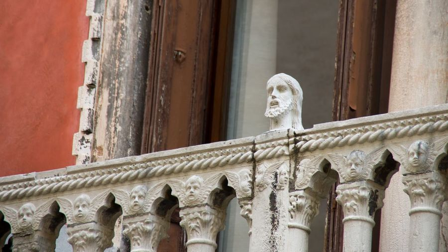 Low Angle View Of Statue In Balcony